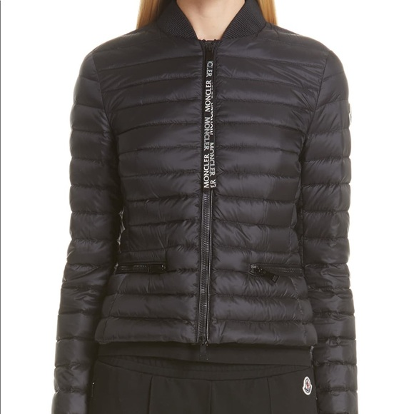 Moncler Blenca Lightweight Down Biker Jacket